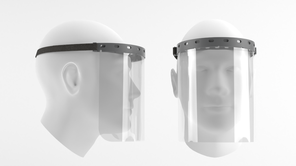 Face shields black and white render