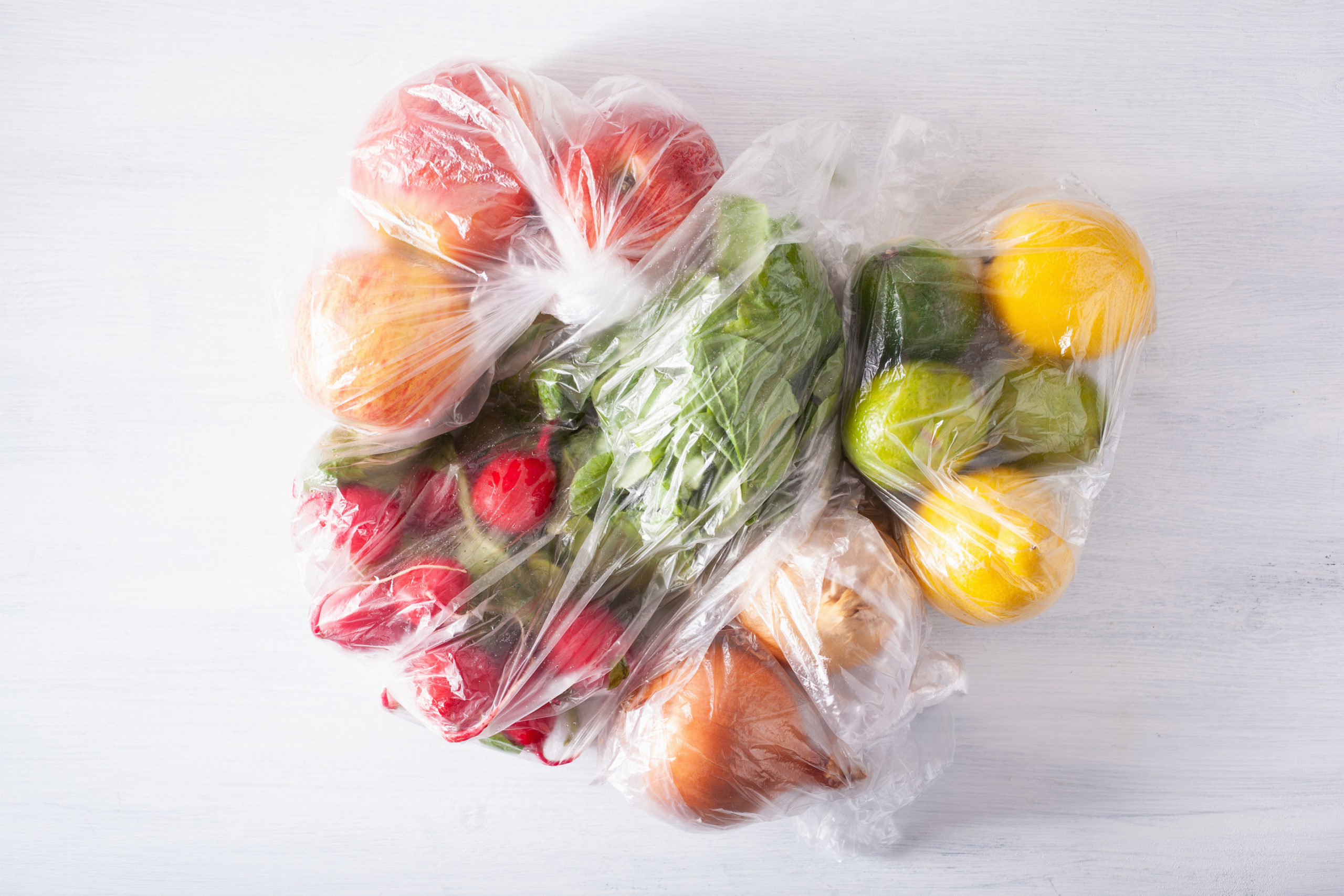 LDPE grocery bags with fruit and vegetables